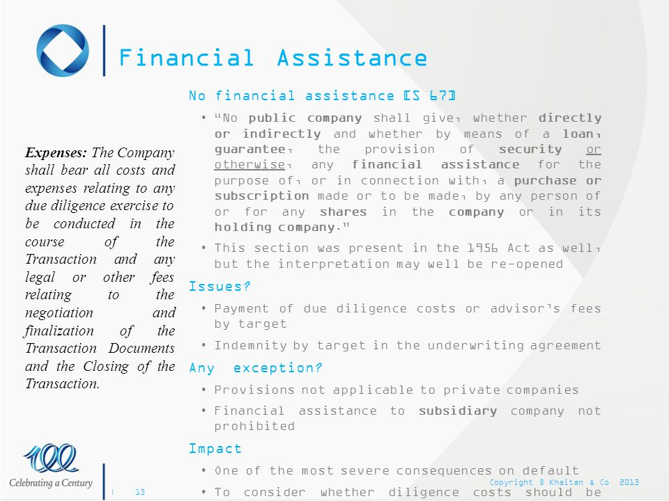 Financial Assistance No financial assistance [S 67]